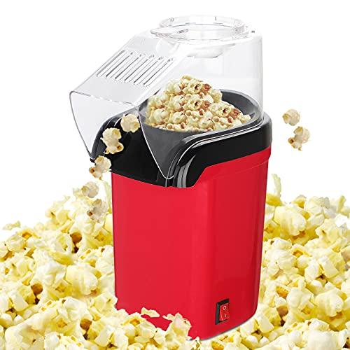 GUJIN Máquina de palomitas de maíz de aire caliente para el hogar, 1200 W, automática, sin grasa ni aceite, sin BPA, con tapa extraíble