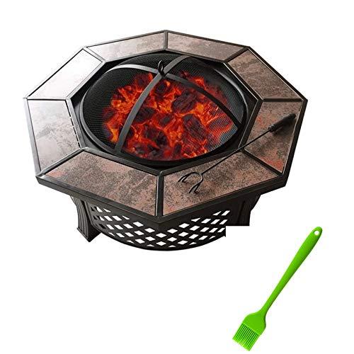 Barbacoa para picnic, jardín, terraza, camping Fuego Pit Barbacoa Grill Fire Pit Bowl Patio Patio Octogonal Cerámica Barbacoa Mesa Carbón Virúrgica Al Aire Libre Estufa Hogar Calefacción Interior Bras