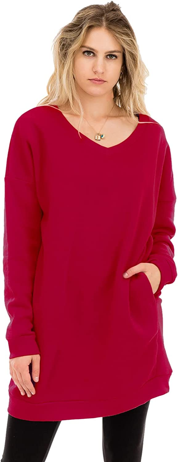 Casual Loose Fit Long Sleeves Over-Sized Tunic Sweatshirts Dk Red 1X