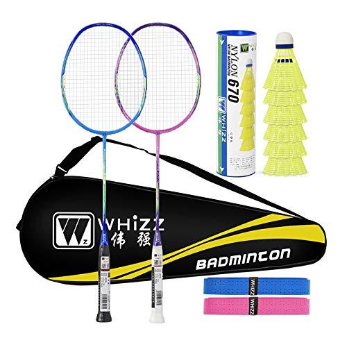 WHIZZ 2 Spieler Badmintonschläger, professionelles Set, inklusive hochwertiger Badminton-Tasche und 2 Badminton-Griffen, MBY56 Blau + Pink