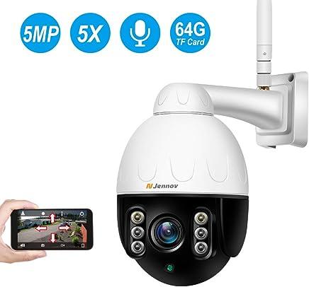 Cam/éra de S/écurit/é /étanche en Ext/érieure WiFi PTZ Carte M/émoire 32 Go Pr/éinstall/ée Zoom Optique 4X Panoramique // Inclinaison // Zoom Dericam 1080P Cam/éra IP sans Fil Vision Nocturne
