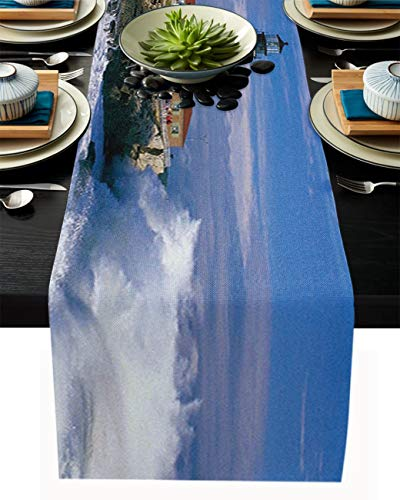 Cotton Linen Table Runner 90inches Long,Lighthouse,Burlap Table Cloth Dresser Scarves for Farmhouse Dining Room/Holiday/Party/Wedding/Events,Beautiful City Town Scenery Sea Wave,Machine Washable