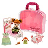 Genuine, Original, Authentic Disney Store Set includes Disney Animators' Collection Anna Mini Doll in her siganture outfit with glittering skirt Dress with pink bow accent and rooted hair Poseable small Anna doll with glittering dress Additional item...