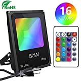 DLLT 50W Dimmable LED RGB Flood Light, Outdoor Color Changing Lights with Remote, IP66 Waterproof Security Floodlight, Exterior Landscape Lighting for Garden, Stage, Halloween Decor with US 3-Plug