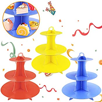 Faxco 3 Pack 3-Tier Colorful Round Cardboard Cup Cake Holder Stand Dessert Tower Reusable Pastry Serving Platter Food Display Birthday Wedding Special Event Decoration