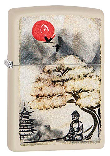 Personalized Custom Message Engraved on Back Pagoda Bonsai Buddha Design Indoor Outdoor Windproof Zippo Lighter
