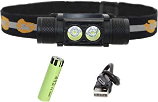 Whaitfire USB Rechargeable LED Headlamp XM-L2 1600 LM Waterproof Headlight Light ( for Running, Camping, Hiking, Cycling, Caving), Compact, Adjustable Headband, 18650 Battery Included
