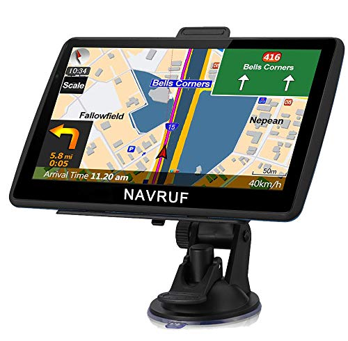NAVRUF GPS Navigation for Car 7 Inch with High Resolution Touch Screen Real Voice Direction Vehicle GPS Navigator Lifetime Map Updates