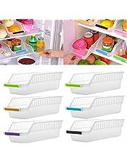 fuchsiaan Organizer do przechowywania w lodówce, dom kuchnia lodówka organizer oszczędzający miejsce wsuwany pod stojak półka uchwyt na lodówkę pudełko do przechowywania dom organizer (1 opakowanie, losowy kolor)