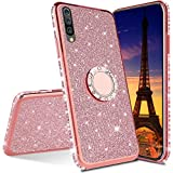 ISADENSER Compatible with Huawei Honor 8X Case Ultra-Slim Glitter Bling Diamond Luxury Plating Silicon TPU Soft Cover with Ring Stand Holder for Huawei Honor 8X,Rose Gold TPU with Stand Holder