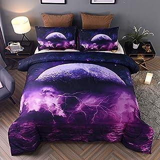 Holawakaka Galaxy Comforter Set, Queen Size Moon Sea Lightning Printed Quilted Bedding Set Bedspread (Purple Moon sea, Que...