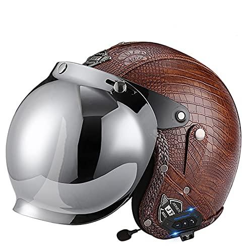 Cascos abiertos con Bluetooth Medio casco de motocicleta, casco con gafas de piloto de motociclista Cascos de crucero de turismo y scooter Casco mediano Aprobado por DOT/ECE 6,L=59-60CM