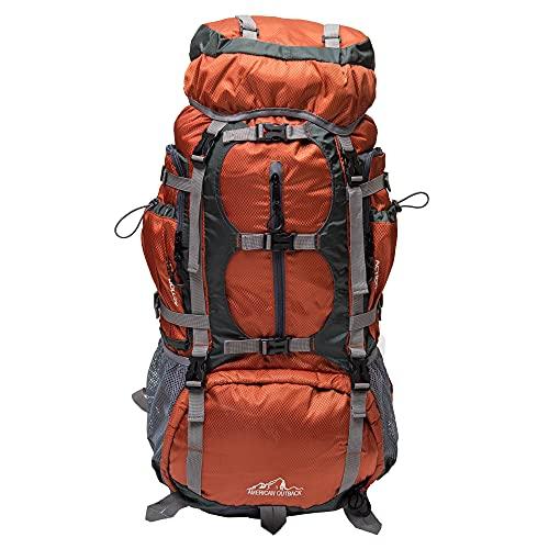 American Outback Glacier Internal Frame Hiking Backpack, Orange, 60 L