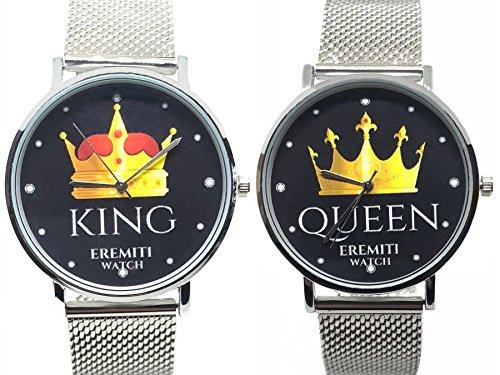 EREMITI JEWELS Orologio Watch Personalizzato Acciaio Inox Fidanzamento King And Queen Idea Regalo (Acciaio)