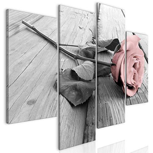 decomonkey Bilder Blumen Rose 126x98 cm 4 Teilig Leinwandbilder Bild auf Leinwand Vlies Wandbild Kunstdruck Wanddeko Wand Wohnzimmer Wanddekoration Deko Modern Schwarz-weiß