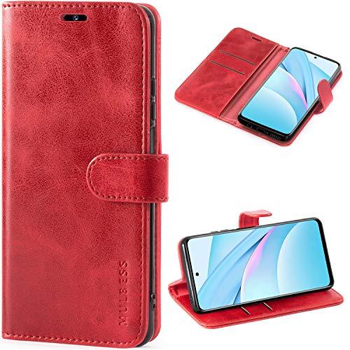 Mulbess Handyhülle für Xiaomi Mi 10T Lite Hülle Leder, Xiaomi Mi 10T Lite Handy Hüllen, Vintage Flip Handytasche Schutzhülle für Xiaomi Mi 10T Lite 5G Hülle, Wein Rot