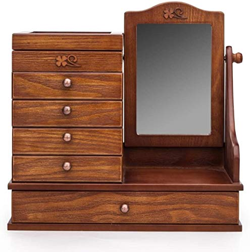 Handmade Retro Hollow Carved wooden Makeup Mirror creative With drawers Countertop Vanity Table Mirror Home Decoration for Make Up