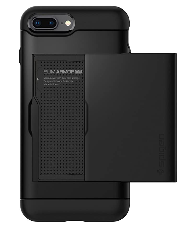 各コンピューター気配りのある【Spigen】 スマホケース iPhone8 Plus ケース / iPhone7 Plus ケース 対応 MIL規格取得 ICカード収納 スリム?アーマー CS 043CS20528 (ブラック)