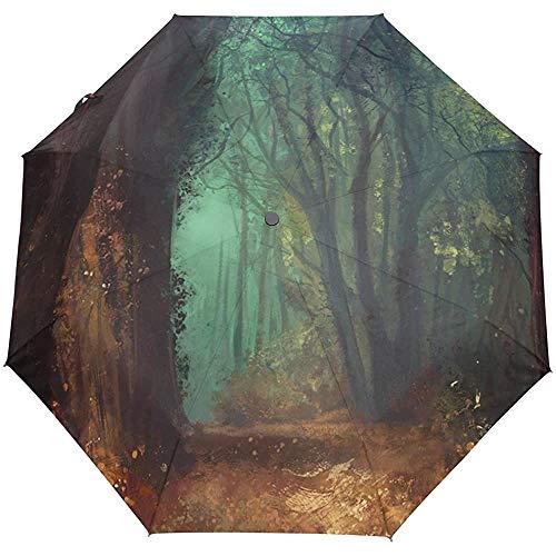 Forest Windproof Umbrellas Auto Open Close 3 Plegable Golf Fuerte Duradero Viaje Compacto Sun Umbrella-52-04E