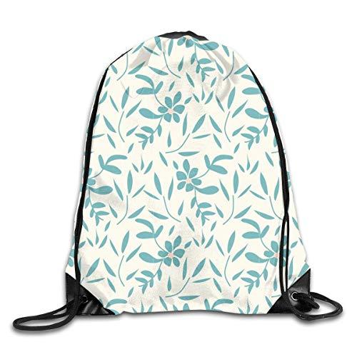 Bolsas de cuerdas Mochila de Cuerdas Licuadora de flores y hojas de color azul celeste para picnic, gimnasio, deporte, playa, yoga Gym Sack Mochilas Cordón 36X43CM