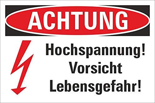 Schild Achtung Vorsicht Hochspannung Lebensgefahr Blitz Symbol 3 mm Alu-Verbund 450 x 300 mm