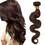 SEGO Extension Tessitura Capelli Veri Matassa Virgin Human Hair Ricci Mossi 100g/1 Ciocca Hair Extensions Umani Brasiliani 40cm #2 Castano Scuro