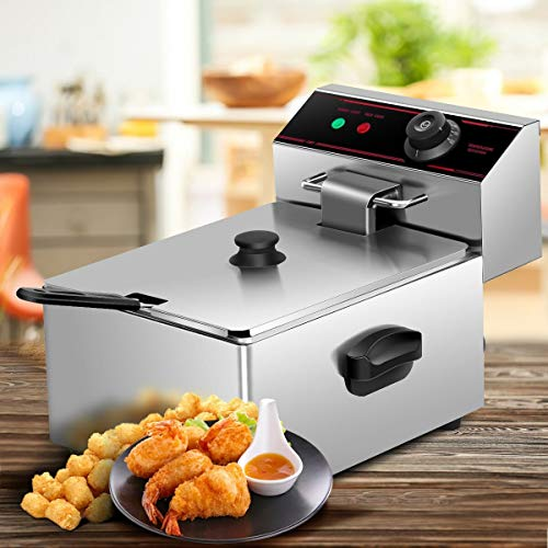 Deep Fryer with Basket Scoop Unit 2500W Single-Tank Electric Fryer for Both Commercial Home uses