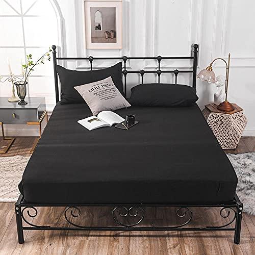 CYYyang Funda colchón Microfibra, elástica y Ajustable, Sábana de Hotel de Color Puro Simple-Negro_90cm × 200cm