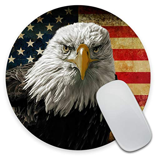Amcove Bald Eagle USA Flag Round Mouse Pad, Grunge American Flags Customized Mouse Mat,Washable Mousepads with Lycra Cloth, Non-Slip Rubber Base Small Mousepad, 7.9×7.9×0.12 inches