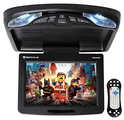 Rockville RVD12HD-BK 12 inch Black Flip Down Car Monitor with DVD/USB/SD Player + Games