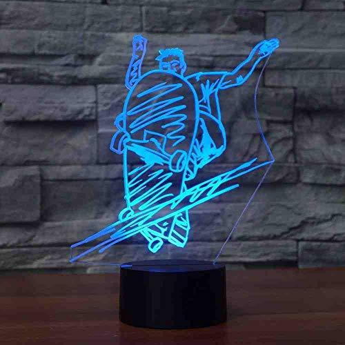 CDBAMX Slide Tafellamp, 7 kleuren, 3D LED Street Art Skateboard met wielen, nachtlampje, lamp voor jongens, nachtkastje, verlichting, decoratie