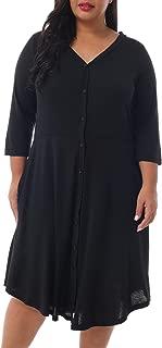 Nemidor Women's 3/4 Sleeve V-Neck Casual Plus Size Party Dress Stretchy Button Dwon Skater Swing Dress NEM218