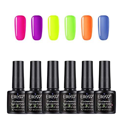 Elite99 Esmaltes Semipermanentes de Uñas en Gel UV LED de Color Neon, 6pcs Kit de Esmaltes de Uñas 10ml 002