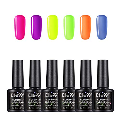 Elite99 Esmaltes Semipermanentes de Uñas en Gel UV LED de Color Neon, 6pcs Kit de Esmaltes de Uñas 10ml 002