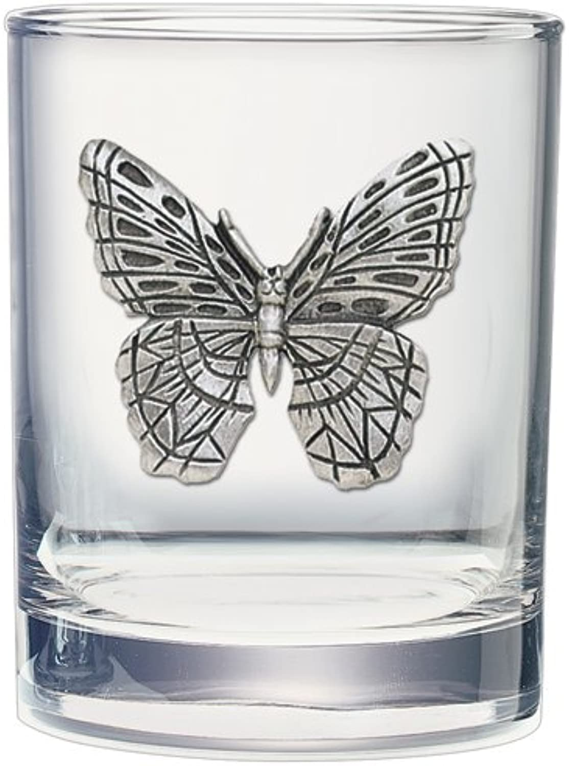 Butterfly Double Old Fashioned Glass Set of 2