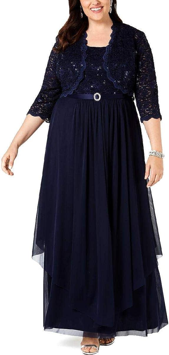 R&M Richards Women's 2 Piece Lace Jacket Dress Plus