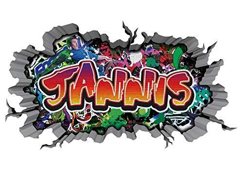 3D Wandtattoo Graffiti Wand Aufkleber Name JANNIS Wanddurchbruch sticker Boy selbstklebend Wandsticker Jungenddeko Kinderzimmer 11MD279, Wandbild Größe F:ca. 97cmx57cm