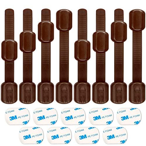 Child Safety Locks, ALBOYI 8-Pack Brown Baby Proofing Cupboard Lock Adjustable Size Adhesive Lock for Cabinets/Drawers/Appliances/Toilet Seat/Refrigerator/Oven, Free 9 Extra 3M Adhesive Pads