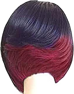 Short Bob Wigs Black Wig for Women with Bangs Straight Synthetic Wig Natural As Real Hair 11'',Black+Rosered