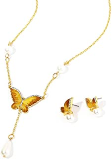 outerunner Crystal Butterfly Natural Stone Long Necklace with Antique Gold Pendant and Earring Set for Women Girl