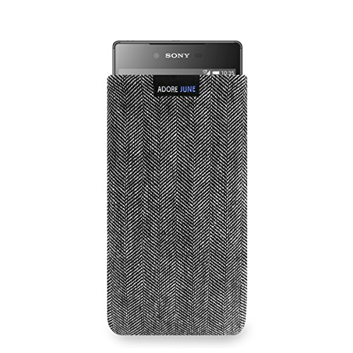 Adore June Business Tasche passend für Sony Xperia Z5 Premium Handytasche aus charakteristischem Fischgrat Stoff - Grau/Schwarz | Schutztasche Zubehör mit Bildschirm Reinigungs-Effekt | Made in Europe