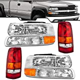 Epic Lighting OE Fitment Replacement Headlight Signal Marker Light Tail Light Combo Set Compatible with 1999-2002 Silverado Models Only [ 6-Piece ] Driver and Passenger Sides
