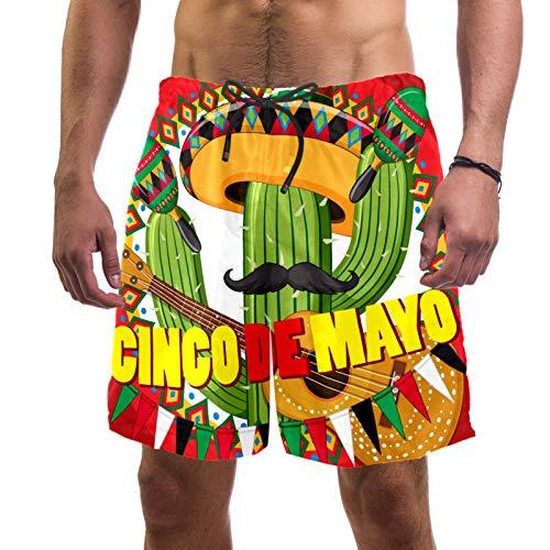 LORVIES Cinco De Mayo Cactus Guitar - Bañador para hombre, secado rápido, talla L multicolor XXL