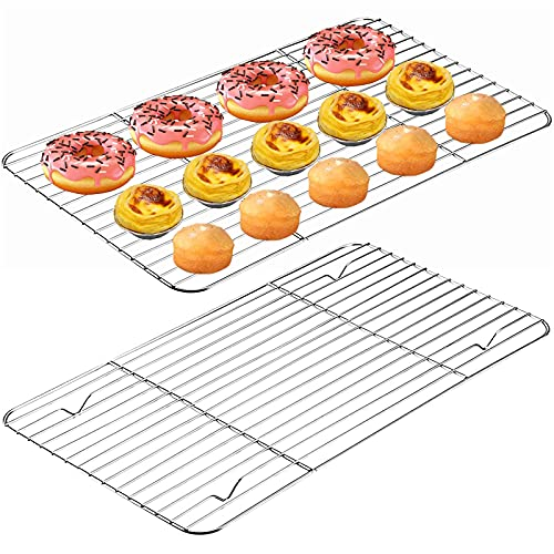2 pcs Griglia di Raffreddamento Griglia di Raffreddamento in Acciaio Inox Antiaderente Griglia di Raffreddamento Rettangolare Teglia Forno per Torte Biscotti Dessert Verdura Frutta Ristorante Cucina