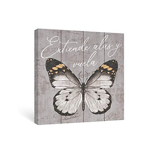 SUMGAR Cuadro en Lienzo del Gris Mariposa Impresión con Frases Motivadoras Decoración de Pared Colgar Cuadros sobre Sala de Estar Dormitorios Baño Pasillo 30x30cm (Extiende Alas y Vuela)