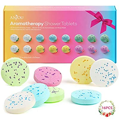 Shower Bomb Tablets Aromatherapy Bath Bombs with Pure Essential Oils 16-Piece Shower Fizzers Streamers Melts Vapor for Home Spa Gift Set