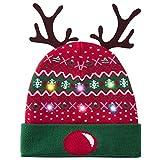 Belovecol Gorro de Navidad para adultos, gorro de punto con luces LED, diseño de Navidad Mützen 03 Talla única
