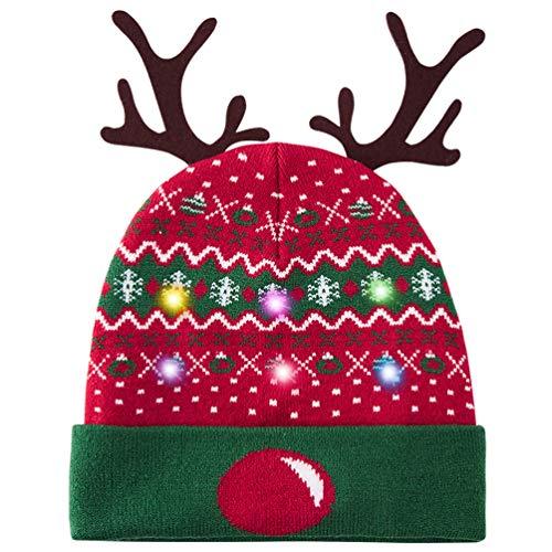 Belovecol Cappello di Natale per adulti, lavorato a maglia, con luci a LED, ideale per feste e feste Cappelli 03 Taglia unica