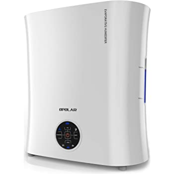 OPOLAR EV01 Digital Evaporative Humidifier for Babyroom & Bedroom, Purifying The Air w/Ionizer and Wicking Filter-No Mist & No Noise-Top Fill & Easy Clean-LED Panel &Timer-0.8Gal, White