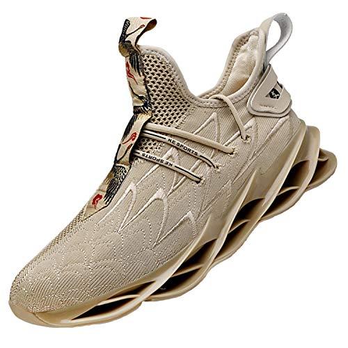 Damyuan Herren Turnschuhe Laufschuhe Sportschuhe Sneakers Straßenlaufschuhe Freizeit Running Jogging Tennis Outdoor Fitness Schuhe Leichtgewichts Atmungsaktiv Walkingschuhe Beige 39 EU
